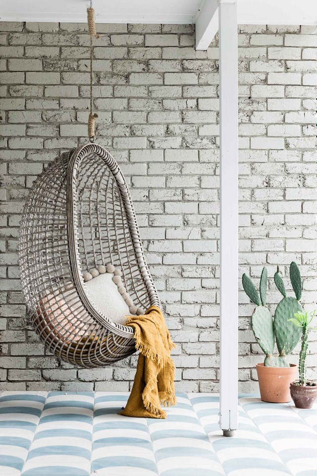 Cane hanging chairs are perfect for outdoor rooms or sheltered decks.