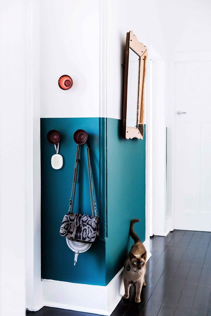 In this home, two-toned walls help conceal any scuff marks left behind by pets.