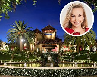 The Bachelorette Australia mansion exterior with inset Angie Kent