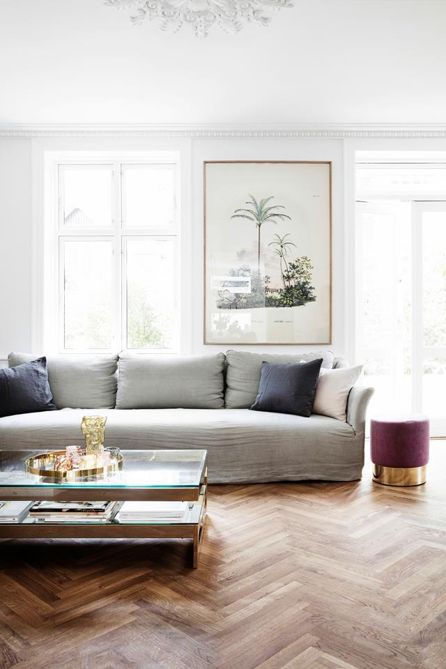 "This restored [heritage villa](https://www.homestolove.com.au/pernille-teisbaek-home-tour-copenhagen-20173|target=""_blank"") in Copenhagen favours warmth over aesthetics, yet manages to combine both effortlessly with a carefully curated interior. Herringbone floors are a very popular choice in European homes."