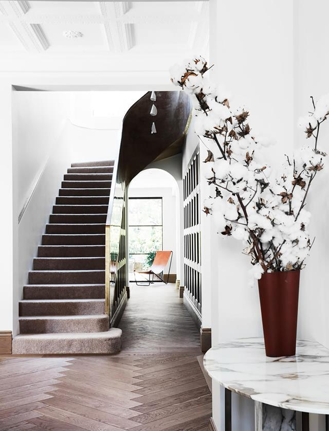 "A thread of elegant understatement is woven throughout this [heritage home](https://www.homestolove.com.au/heritage-property-fashioned-into-elegant-house-20094|target=""_blank"") in Sydney's eastern suburbs. Herringbone Mafi flooring greets guests as they enter the grand abode."