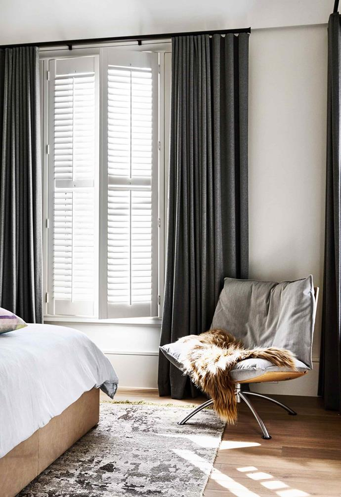 In bedrooms and living areas, consider layering window treatments so you have plenty of light control. Shutters or roller blinds and curtains complement each other well.