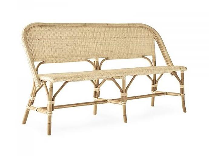 "Amalfi bench seat, $799, at [Sea Tribe](https://seatribe.com.au/collections/furniture/products/amalfi-bench-seat|target=""_blank""