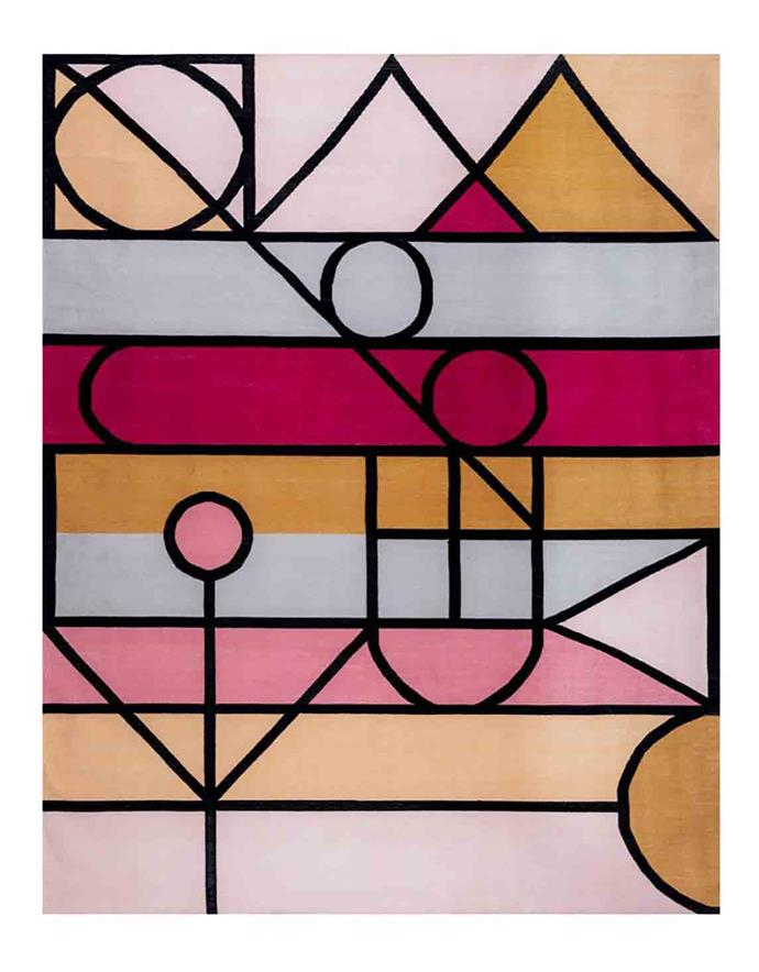 "'Modern pinks' dhurrie **rug**, from $1252.80, at [Fenton & Fenton](https://www.fentonandfenton.com.au/collections/rugs/products/modern-pinks-dhurrie|target=""_blank""|rel=""nofollow"")."