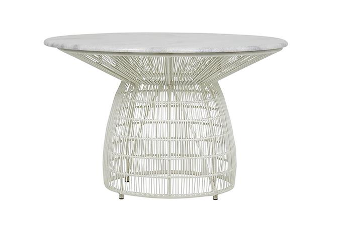 "Malibu dining table in white, $2200, at [Fenton & Fenton](https://www.fentonandfenton.com.au/collections/new-arrivals/products/malibu-dining-table-marble-top-white-base|target=""_blank""
