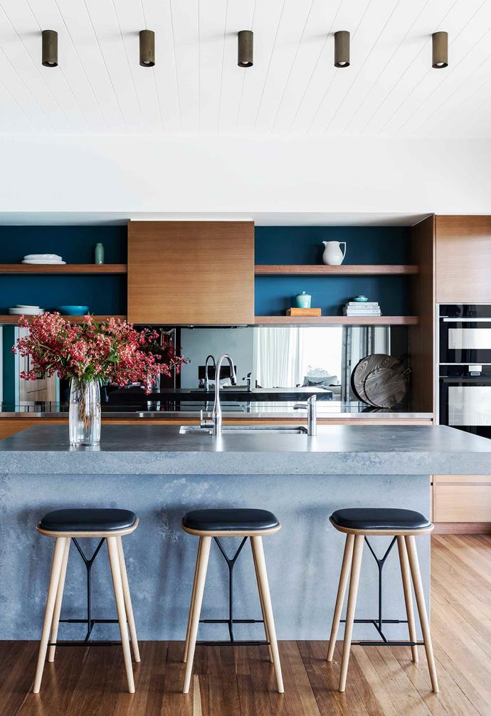 "**Kitchen** Relocated from the centre of the house, the kitchen now an ocean-inspired teal wall in [Dulux](https://www.dulux.com.au/|target=""_blank""