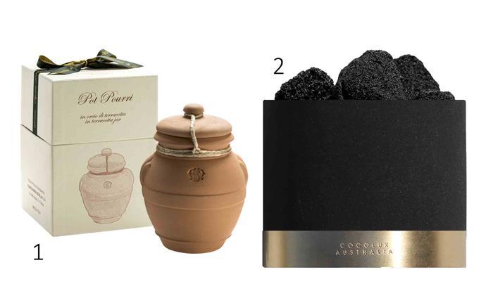 "1. Santa Maria Novella **Pot Pourri** in terracotta jar, $108, from [Libertine Parfumerie](http://www.libertineparfumerie.com.au/|target=""_blank""|rel=""nofollow""). 2. 'Luna' lava rock **mineral diffuser**, $100, from [Cocolux Australia](https://www.cocoluxaustralia.com/product-page/cocolux-luna-lava-rock-mineral-diffuser|target=""_blank""|rel=""nofollow"")."