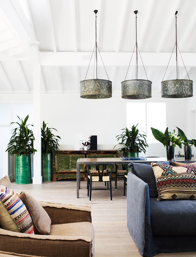Vintage galvanised pendants from Parterre and glazed custom-made planters from Robert Plumb.