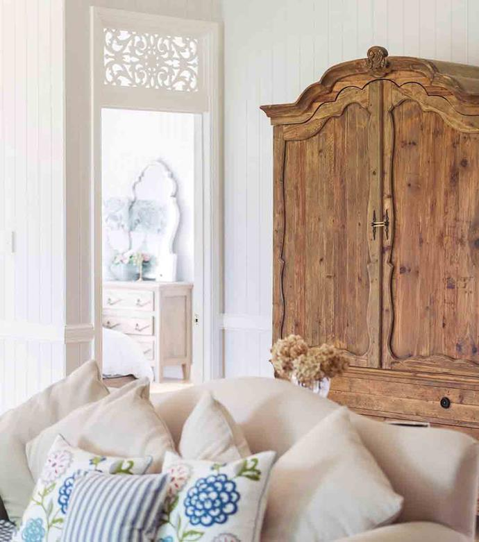 "Keirra has embraced the second-hand economy to furnish the home. One of her favourite pieces is an [antique armoire](https://www.homestolove.com.au/french-provincial-style-10-key-elements-6741|target=""_blank""), which she purchased from a neighbour."