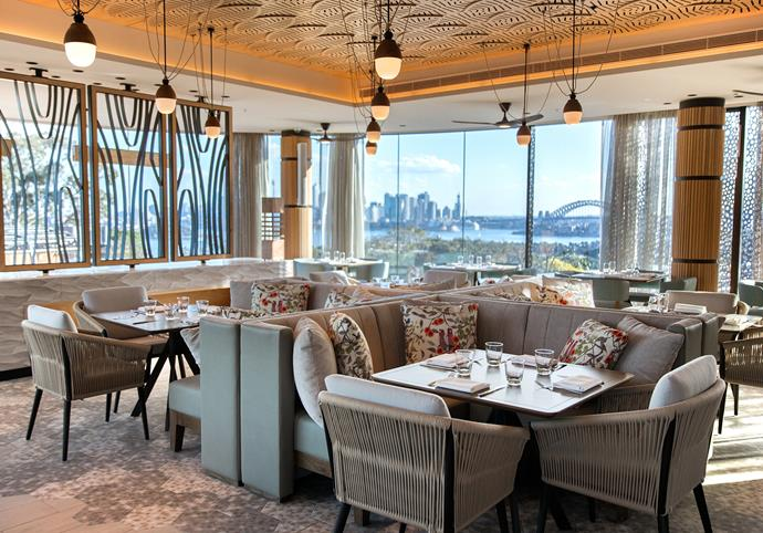 Me-Gal restaurant boasts panoramic views over Sydney harbour.