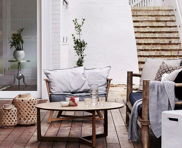 Make indoor and outdoor spaces feel cohesive by using the same colour scheme and accessories. *Photo: Alicia Taylor / Bauersyndication.com.au*