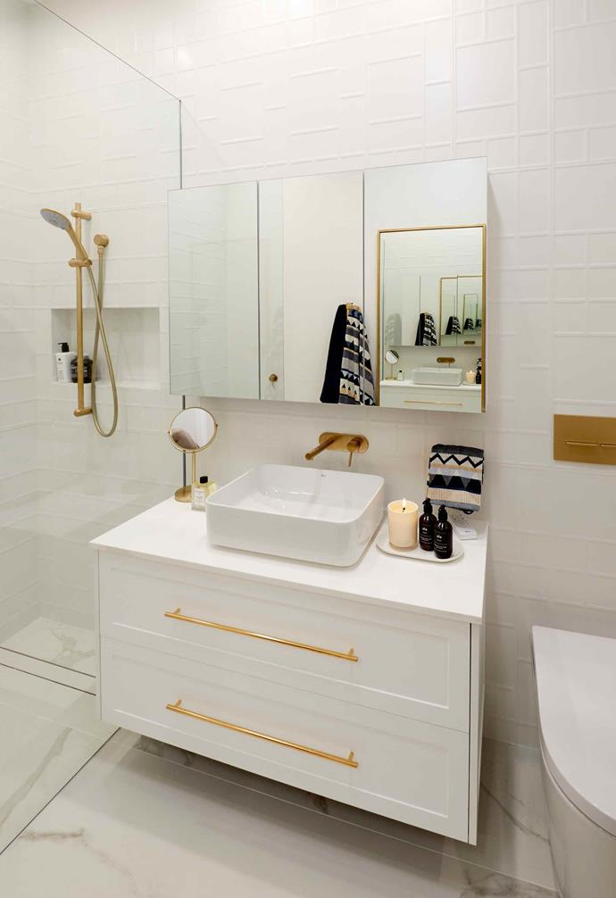 """**Week 1, Guest Bedroom Ensuite** During the second half of week one, the couple opted to create a walk-in wardrobe in their guest bedroom that leads into this chic ensuite that Neale described as """"Hollywood glamour!"""" during the [ensuite reveals](https://www.homestolove.com.au/the-block-2019-ensuite-reveal-20546