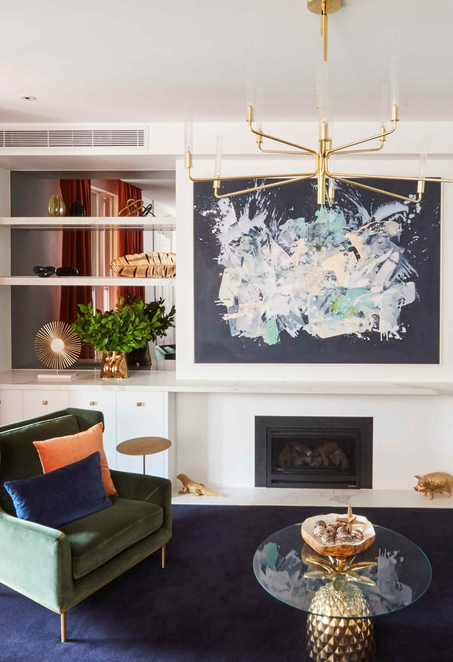 Mitch and Mark's formal living room oozes Hollywood glamour and a mid-century luxe vibe.