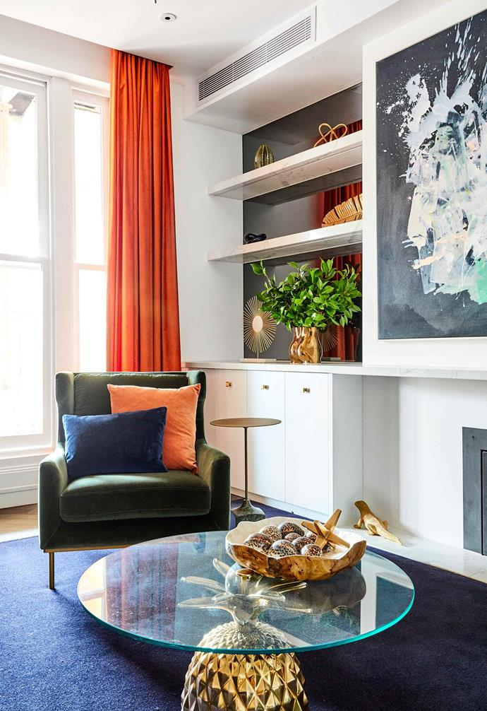 """**Week 2, Formal Lounge** Burnt orange velvet [curtains](https://www.homestolove.com.au/preview/buyers-guide-to-curtains-and-blinds-9777