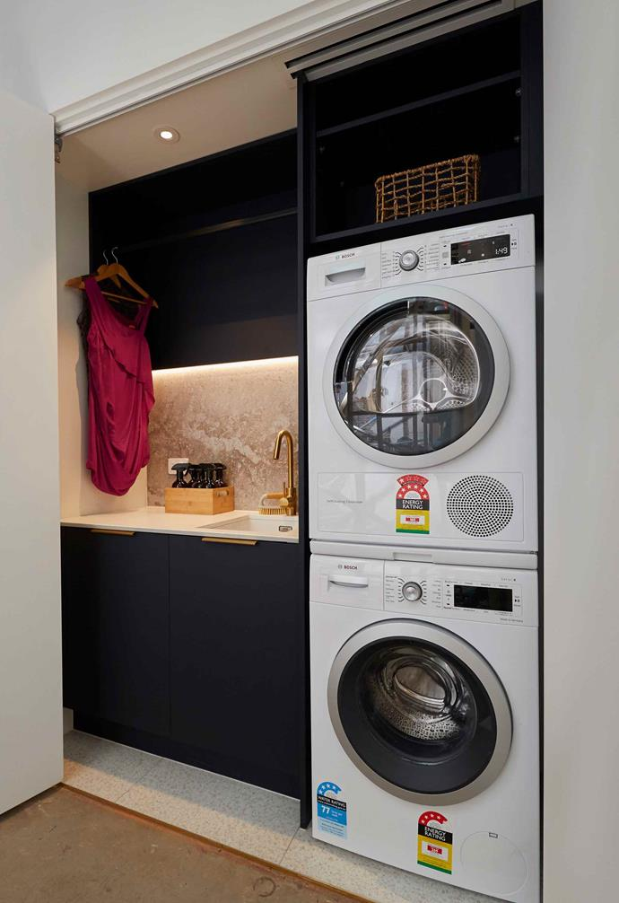 """**Week 4, Main Bathroom** Their [laundry space](https://www.homestolove.com.au/laundry-layout-ideas-14391