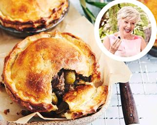 Angus beef pies with green olives with Maggie Beer inset