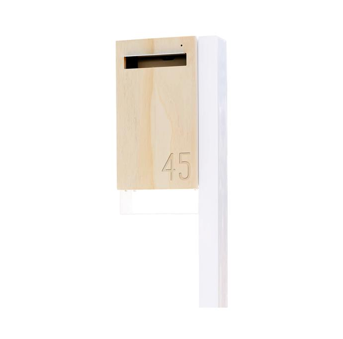 "Acoya timber and aluminium letterbox, $579, at [Javi Design](https://www.javidesign.com/#welcome|target=""_blank""