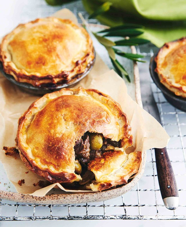 "<p>**BEEF PIES WITH RED WINE AND OLIVES**<P> <P>No food is more comforting than a classic meat pie. But in true Maggie style, these guys soar above the average minced pie variety. These pies are made with quality Angus beef, and have been flavoured with red wine and green olives.<P> <p>**Get the full recipe for [Maggie Beer's beef pies with red wine and olives](https://www.homestolove.com.au/maggie-beers-coorong-angus-beef-pie-with-red-wine-11914|target=""_blank"").**<P>   <P>*A version of this recipe was originally published in [Maggie Beer's Autumn Harvest Cookbook](https://www.maggiebeer.com.au/products/autumn-harvest--2