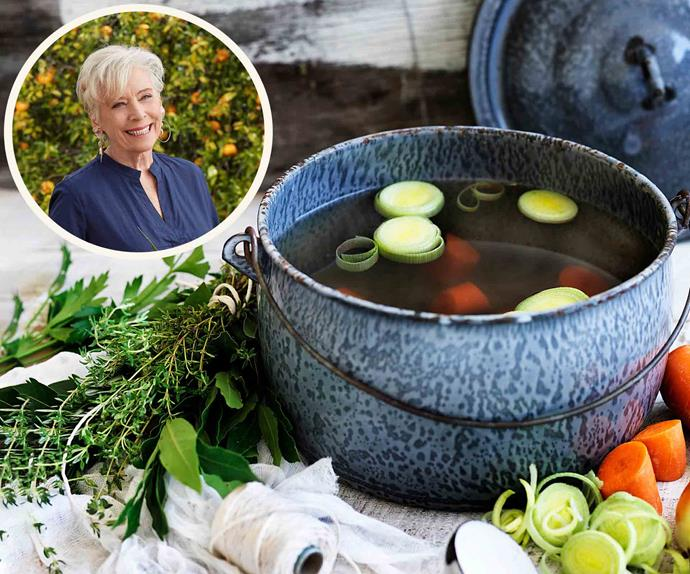 Pot of chicken stock with Maggie Beer inset