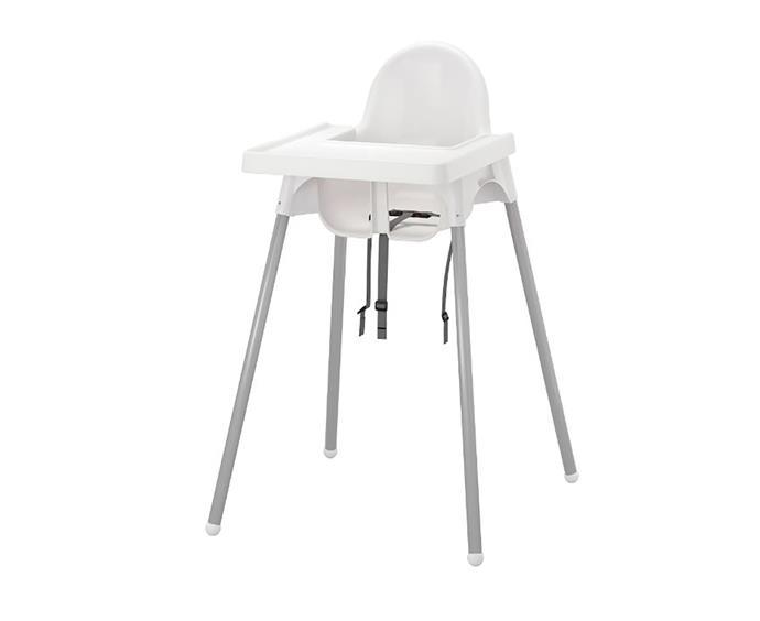 "ANTILOP highchair, $24.99, at [Ikea](https://www.ikea.com/au/en/catalog/products/S99067497/|target=""_blank""|rel=""nofollow"")"