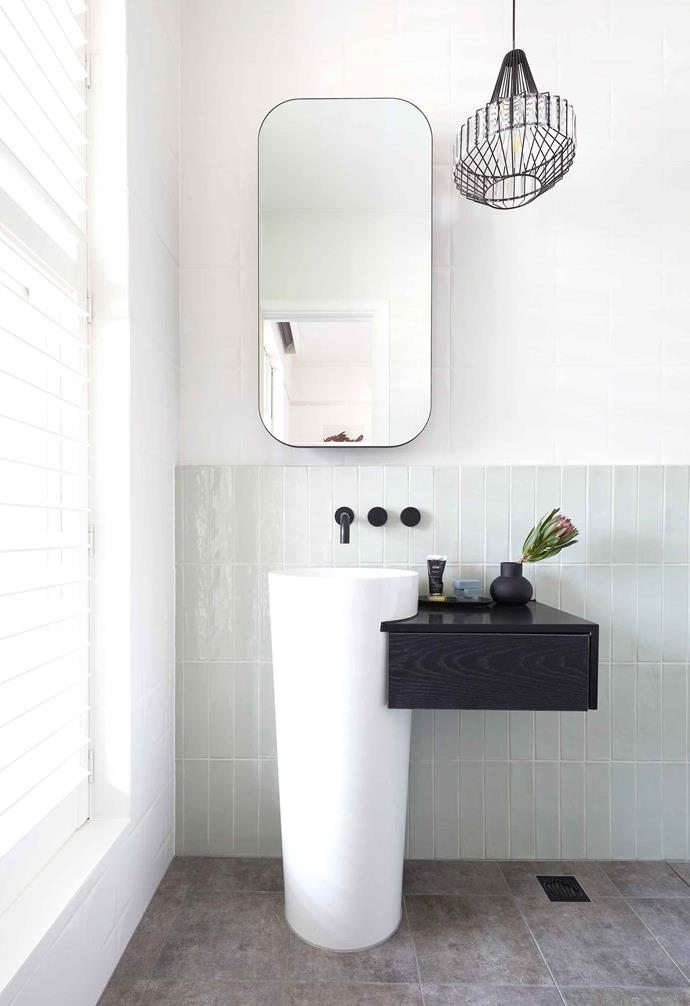 """**Week 1, Guest Bedroom Ensuite** El'ise and Matt channelled a [Modern Deco aesthetic](https://www.homestolove.com.au/modern-art-deco-style-4254