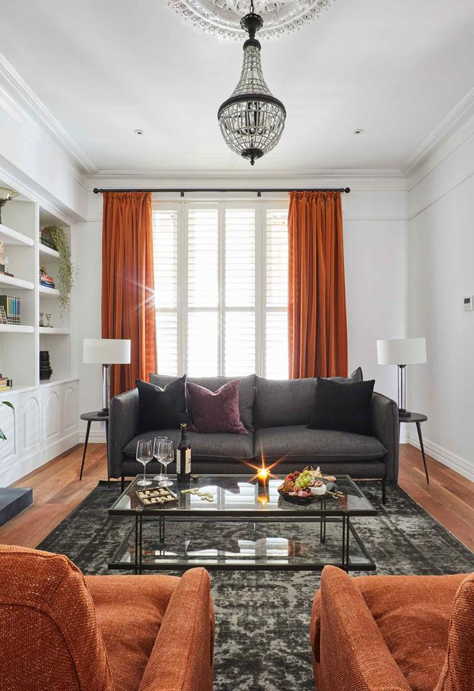 """**Week 2, Formal Lounge** El'ise and Matt chose the same burnt orange velvet curtains that [Mitch and Mark had chosen](https://www.homestolove.com.au/the-block-2019-mitch-mark-house-20737