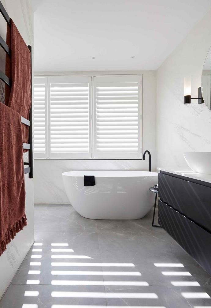 **Week 6, Master Ensuite** During the master ensuite week, El'ise and Matt adopted a more neutral and pared-back approach. Unfortunately for them, they missed the mark with their layout and functionality by tucking their shower in a nook that the judges felt was unnecessary.