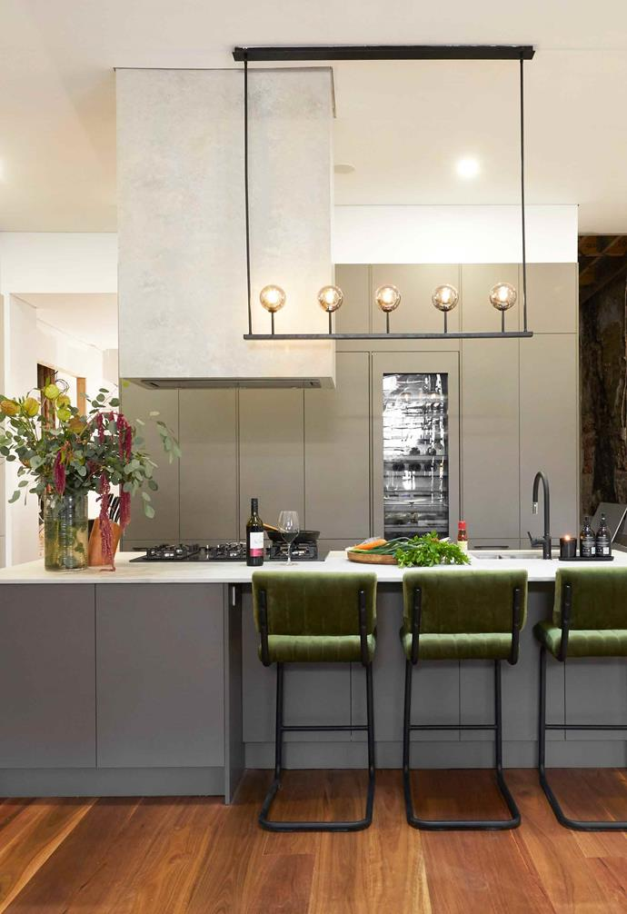 **Week 7, Kitchen** While the judges loved the cabinetry and colour palette of the kitchen, they weren't a fan of the limited functional bench space, or the design feature of a rangehood.