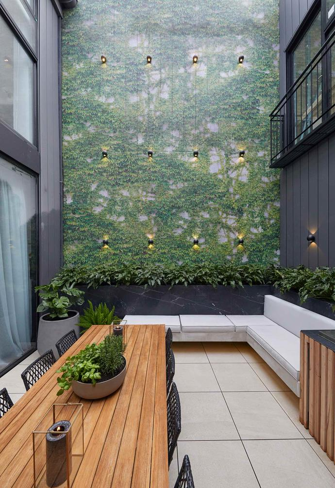 "**Week 9, Courtyard** Jesse and Mel had their work cut out for them when they planned to tile their very own mosaic feature wall during [courtyard week](https://www.homestolove.com.au/the-block-2019-courtyard-room-reveals-20721|target=""_blank""). In total, the couple laid 105, 215 tiles and the end result is stunning."