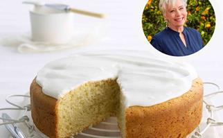 Buttermilk cake with lemon icing with Maggie Beer inset