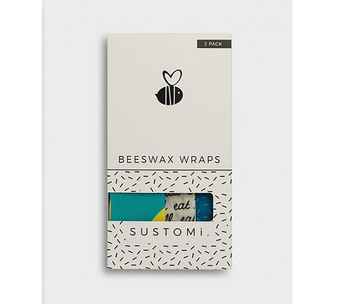 "Sustomi beeswax wraps, $36.95/3 pack, at [Milligram](https://milligram.com/sustomi-beeswax-wraps-pack-of-3-assorted-designs|target=""_blank""|rel=""nofollow"")"