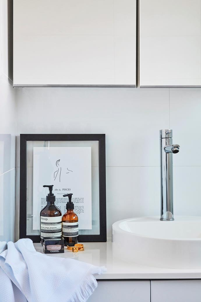 Chrome taps, white tiles and handle-less joinery are classic choices and can be teamed with accessories to suit any interior style.