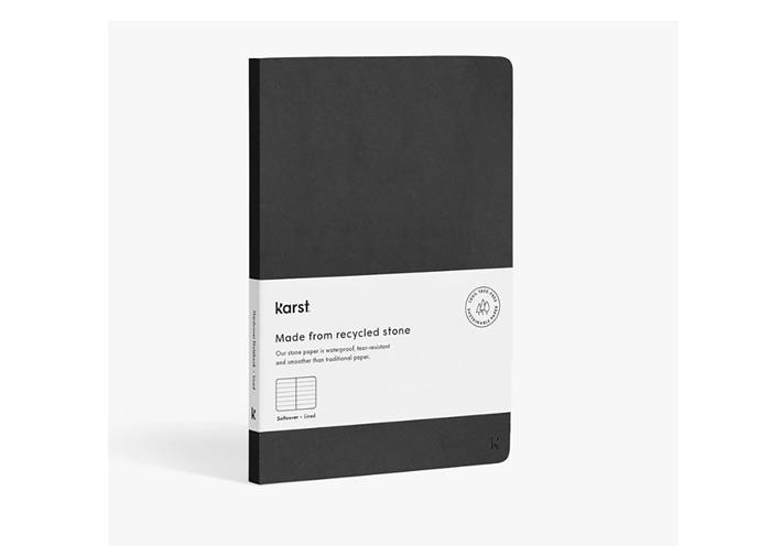 "Softcover stone paper notebook A5, $38, at [Karst](https://karststonepaper.com/collections/stone-paper-notebooks/products/stone-paper-softcover-notebook?variant=21907434504281&fbclid=IwAR0_1KIUMDrYYxe1GXDO0lQeLNVAfqZ1OiFU6PQWfYCSAWVx6YoFR1Xak-U|target=""_blank""|rel=""nofollow"")"