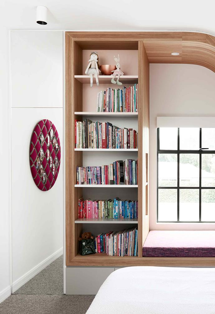**Pink wing** The mirrored cabinet amplifies the natural light and sense of space within the bedroom.