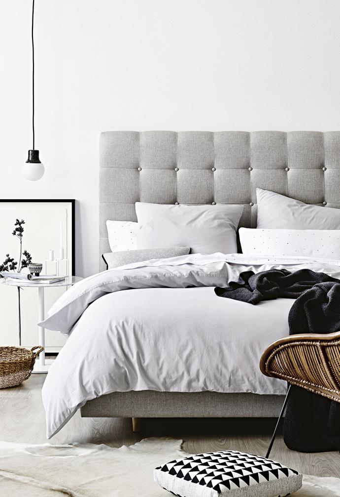 """For a luxe look, the 'Richmond' bedhead and surround in Husk Dust linen from [Heatherly Design](https://heatherlydesign.com.au/