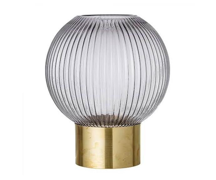 """Bloomingville glass vase in Grey, $69, [Trit House](https://www.trithouse.com.au/