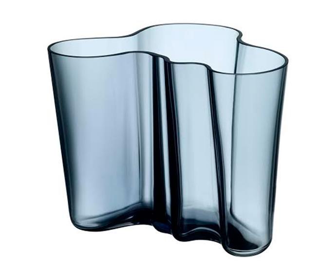 "Aalto vase 16cm in Rain, $249, [Iittala](https://www.iittala.com/home|target=""_blank""|rel=""nofollow"")."