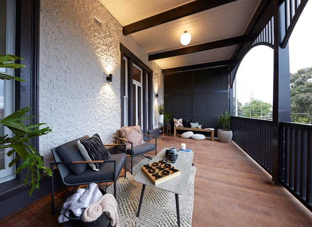 "**Week 11, Verandahs** Tess and Luke are left with the least money out of all the teams so they kept the design and styling of their two [verandahs](https://www.homestolove.com.au/the-block-2019-verandahs-20772|target=""_blank"") simple and practical. The judges particularly enjoyed the upstairs balcony and the different seating options that Tess and Luke included: a comfy lounge for morning coffee and a bar table for evening drinks"