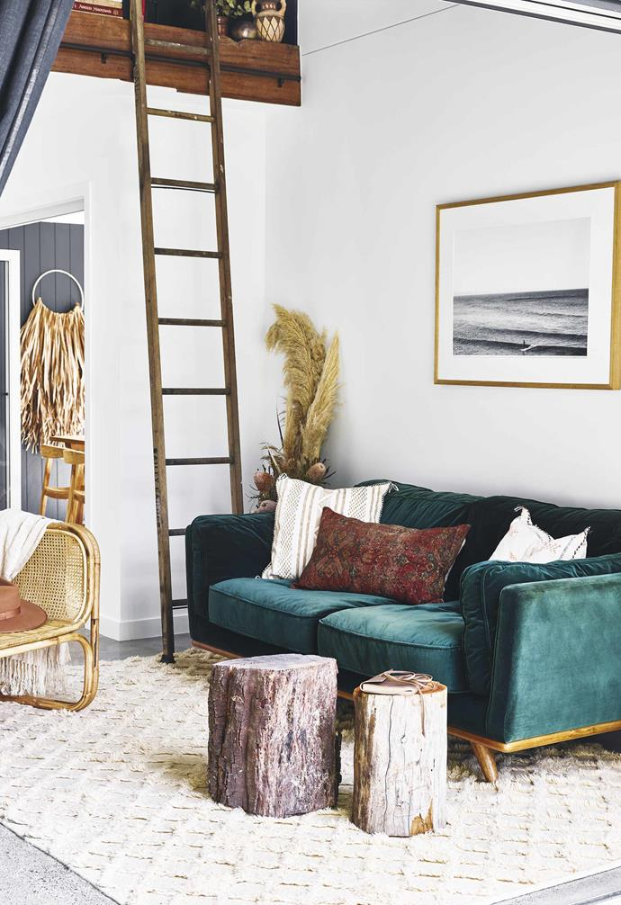 """Choose a statement piece to highlight like the velvet green sofa in this [chic pool house](https://www.homestolove.com.au/pool-house-19517
