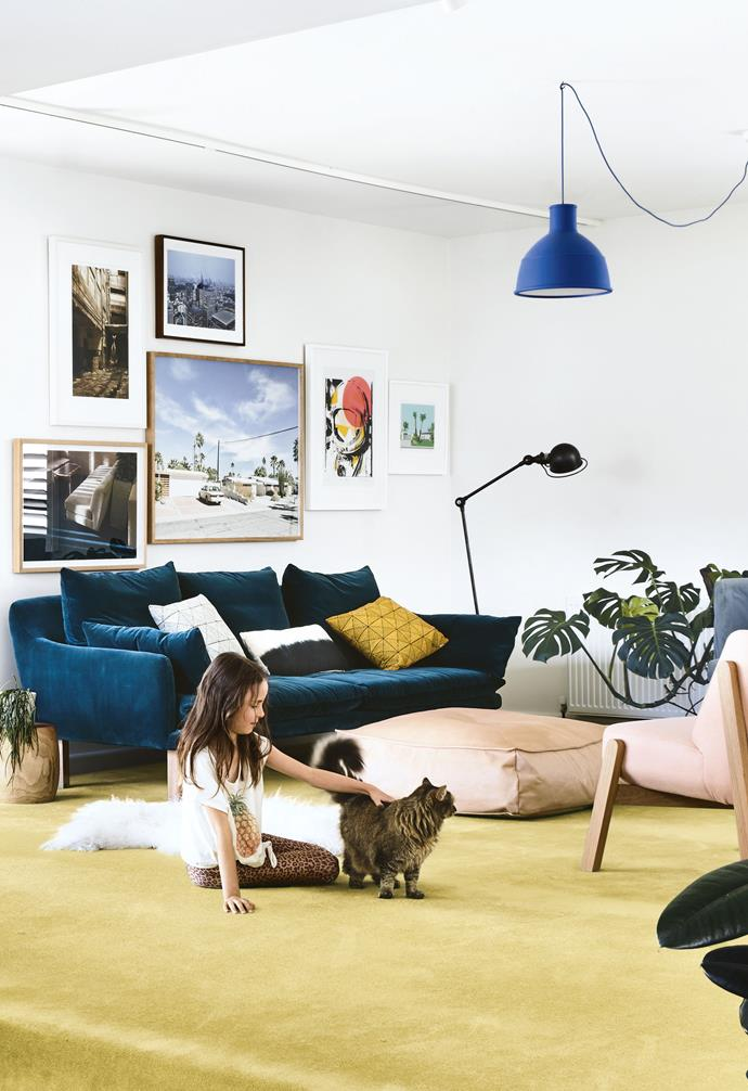 """A sliding door was installed to separate the living space from the private area where the bedrooms are, and plans for a third bedroom were shelved in favour of a study.<br><br>**Living area** A carpeted step forms the transition from the [concrete-floored](https://www.homestolove.com.au/concrete-floors-19778