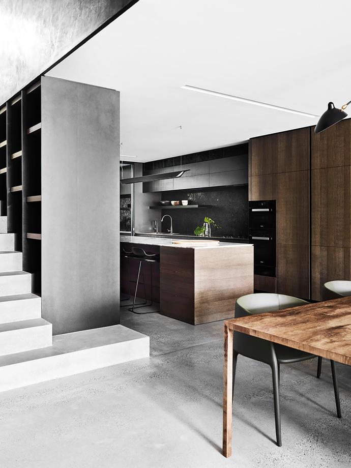 """**Belinda Chippindale - Hare + Klein** <br> """"Tailored and timeless"""" was the brief when Hare+Klein designed this Sydney kitchen. The new layout enables seamless entertaining; enclosed storage ensures clear views from the adjacent dining and living areas. The star feature, however, is the custom shelving unit/room divider/balustrade. """"The shelf unit is one of my favourite elements in the home; it is perfectly balanced yet unexpectedly offset in proportion,"""" says the owner."""