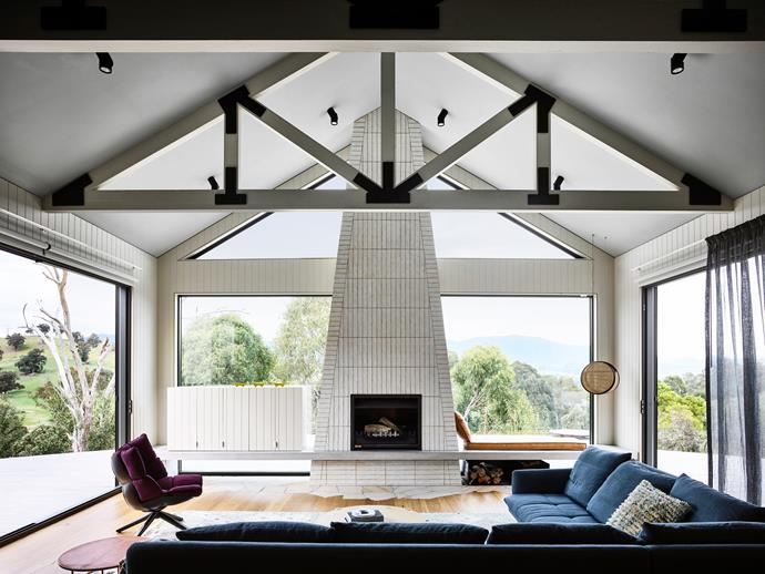 **BEST USE OF TECHNOLOGY IN THE HOME SPONSORED BY ZIP: MARDI DOHERTY - DOHERTY DESIGN STUDIO**<br> With its soaring ceiling and vast walls of glass, this living room is at one with its rural Victoria location. The owners asked Doherty Design Studio and Detail 9 Architects to design a contemporary country retreat that was low maintenance and very calm, says interior designer Mardi Doherty. It also had to feel comfortable when it is just the owners present, yet spacious when guests stay for the weekend.