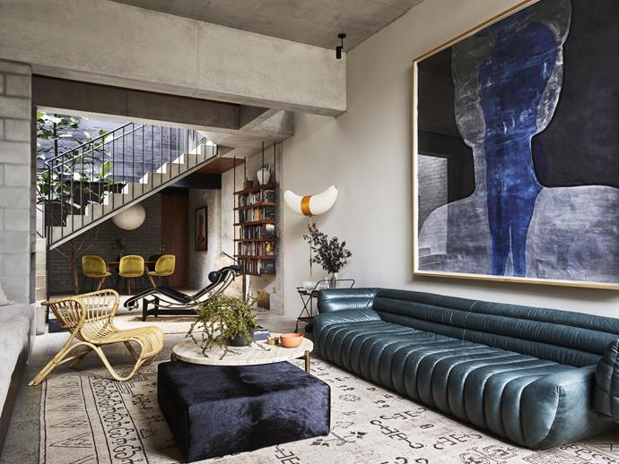 **2019 ROOM OF THE YEAR SPONSORED BY KING LIVING - ARENT & PYKE**<br> A pivotal element in the renovation of this home in Sydney's inner west was the owners' desire to plant a large fiddle-leaf fig within the new space – and it stands proudly in the atrium behind the stairs. The strong architecture of the building provided inspiration aplenty for the Arent&Pyke team, whose brief was to bring life to the living area.