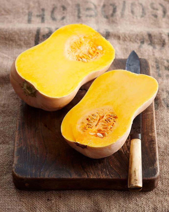 "<P>**BUTTERNUT PUMPKIN**<p> <p>One of the best known pumpkin varieties for its shape, quick growing time and versatility. It marries well with strong flavours like blue cheese or spices like cumin and grows well all across most of Australia. Butternut pumpkin is also great for sweet dishes, like [pumpkin fruitcake](https://www.homestolove.com.au/heirloom-recipe-pumpkin-fruitcake-12029|target=""_blank"") and [pumpkin pie](https://www.womensweeklyfood.com.au/recipes/pumpkin-pie-3758