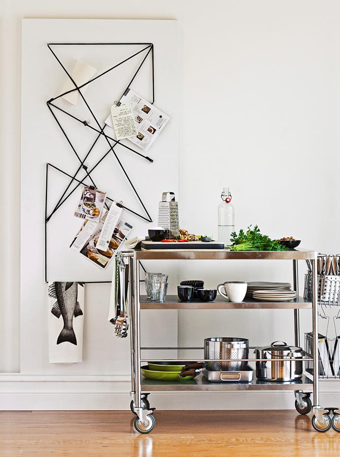 Stack your kitchen trolley with the plates, glasses, pots and pans that you use on a regular basis.
