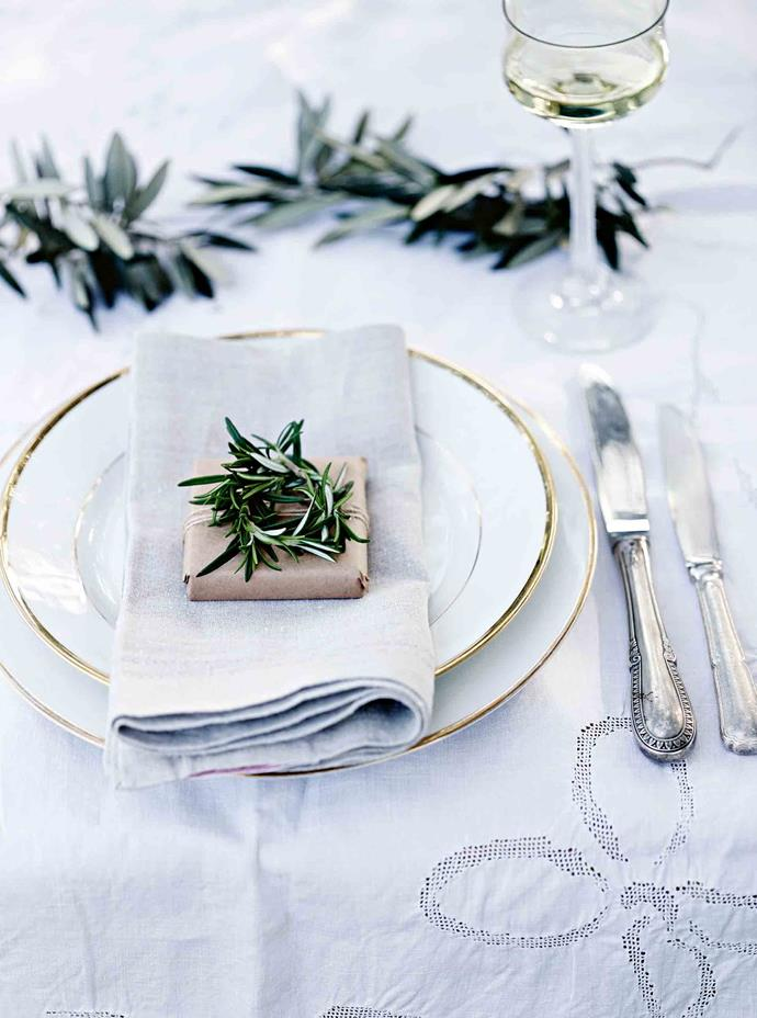 "Tiny rosemary wreaths make a [festive place setting](https://www.homestolove.com.au/christmas-table-setting-steps-16141|target=""_blank""). The couple knew when they bought the property that it would have to fund itself. For many years they hosted weddings, and the footprint of the original dairy was taken as a guide to build a sturdy replacement to host events and workshops, while the original separating shed has been converted to a kitchen. Mickey now prefers to focus on the simplicity and intimacy of her  garden events."