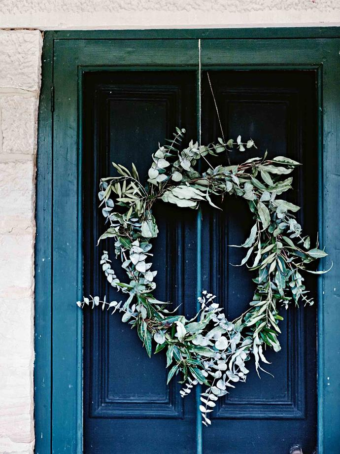 "A [festive eucalypt wreath](https://www.homestolove.com.au/australian-native-christmas-wreath-16632|target=""_blank"") on the front door. ""Decorate your doors with wreaths made from foraged foliage collected in the garden or even from the roadside,"" says Mickey."