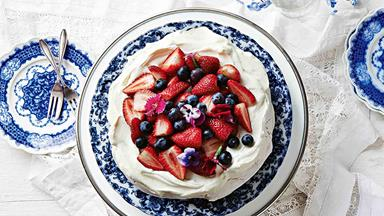 Grandma's pavlova topped with fresh summer berries
