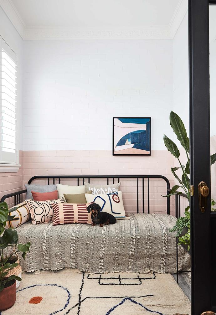 "Sophie has transformed the compact sunroom into a cosy nook styled with cushions from [LRNCE](https://lrnce.com/|target=""_blank""