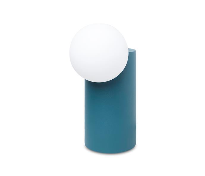 "Milligram Studio 'Form' lamp in teal, $129, at [Milligram](https://milligram.com/milligram-form-light-cylinder-green target=""_blank"" rel=""nofollow"")"